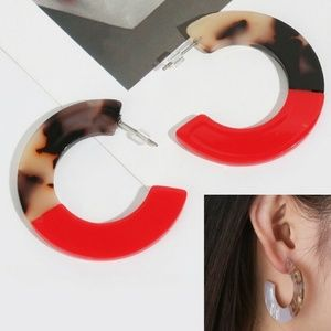 Boho Round Circle Acrylic Resin earring Womens Red